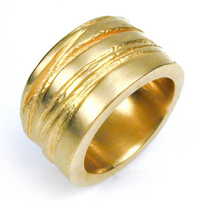 Wide Silver Texture Bound Ring In 18ct Gold Plated - Crafted By Birthstone Design™